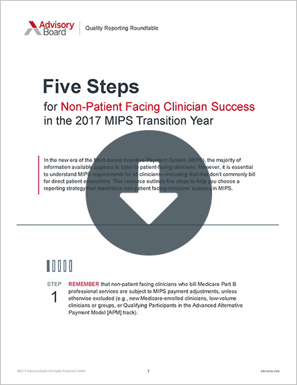 non-patient facing clinician success in MIPS