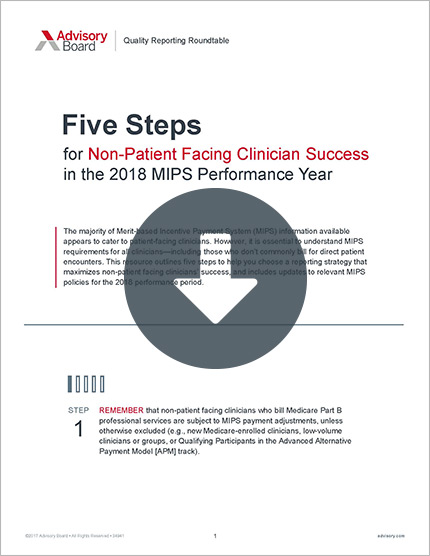 Five Steps for Non-Patient Facing Clinician Success in MIPS