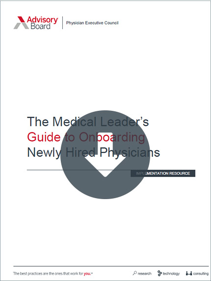 The Medical Leader's Guide to Onboarding Newly Hired Physicians Cover
