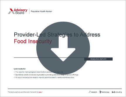 Provider-Led Strategies to Address Food Insecurity